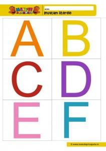 001 - fise cu litere de tipar ABCDEF - color