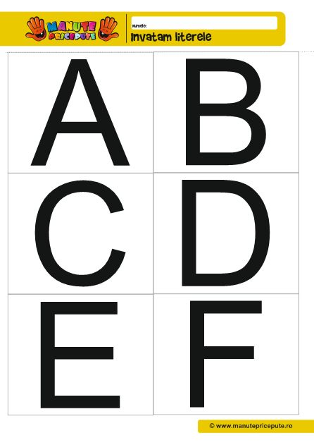 Fise de lucru alfabet A, B, C, D, E, F