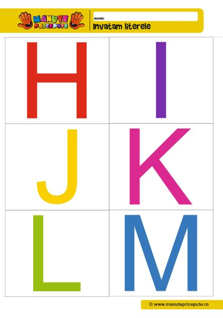 Fise de lucru alfabet H, I, J, K , L, M