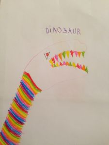 Dinozaur din conturul mainii