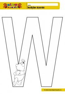 W - 010 - pagini de colorat cu litera W