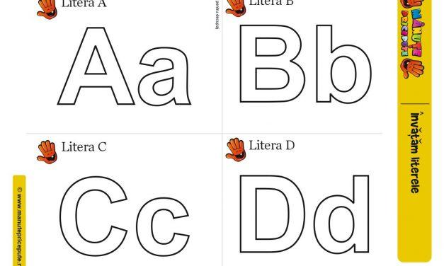 Șablon literele A, B, C, D pentru activități cu plastilină
